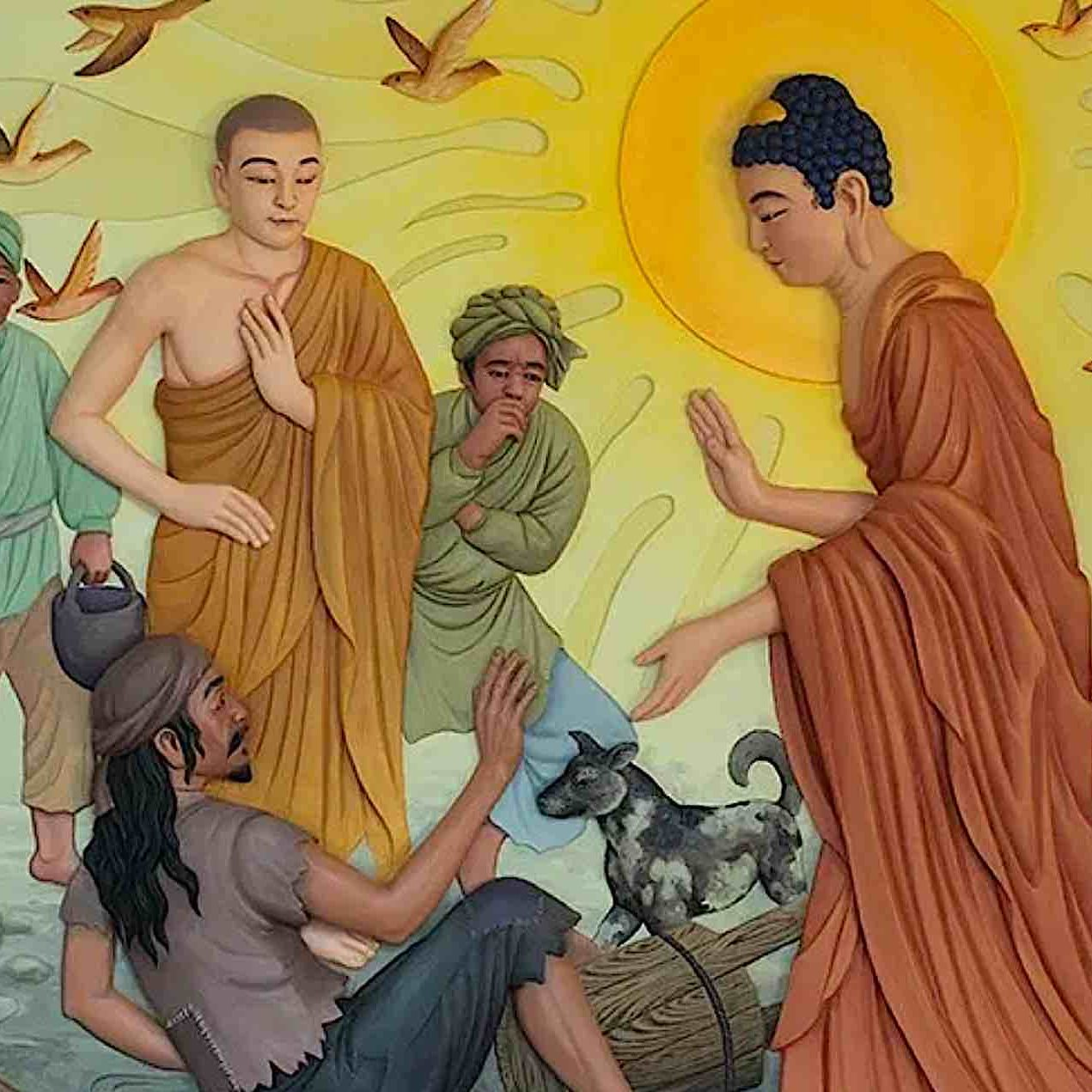 """Buddha comes across the """"untouchable"""" carrying excrement. Buddha treats the """"untouchable"""" as an equal, without pride, and asks him to become one of his monks."""