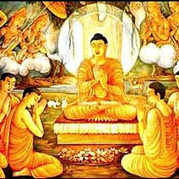 The Great Meeting, Buddha teaching Gods and men.