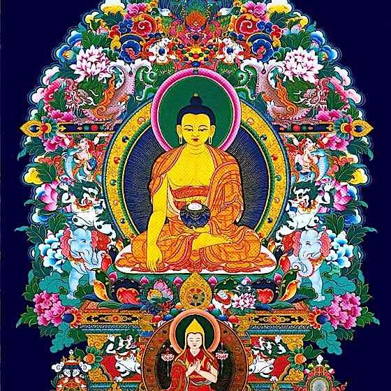 In Vajrayana Buddhist traditiona, teachers must be able to trace lineage unbroken back to Shakyamuni Buddha. This tankha honours both Shakyanmuni Buddha, and the great Lama Tsonkhapa.