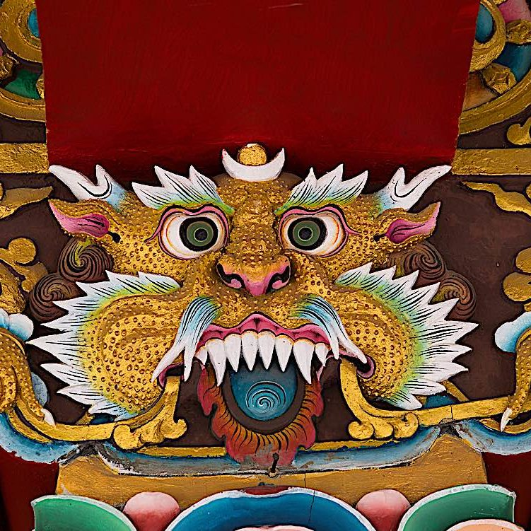 A lion face in a monastery in Ladakh India.