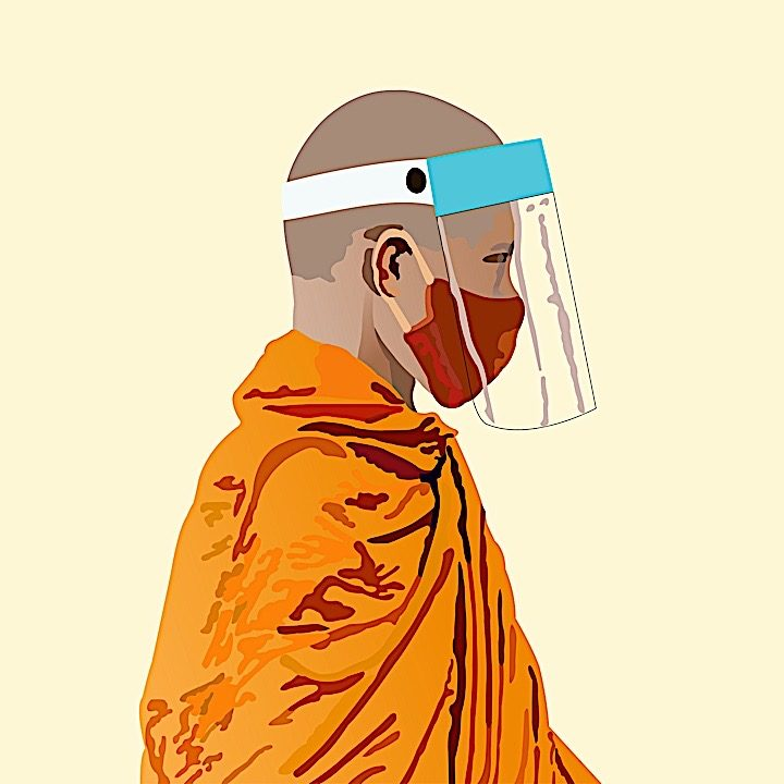 A Buddhist monk with mask and face protection continues to teach, overcoming all obstacles.