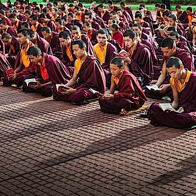 Chanting mantas is a daily practice for monks and many Buddhists.