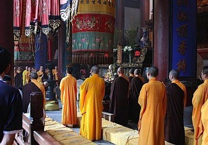 A typical ceremony with Chinese Buddhist monks.