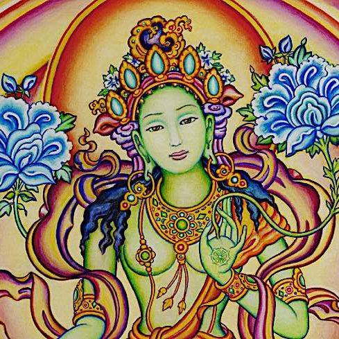 "Chittamani Tara is similar in appearance to Green Tara — in fact she is Green Tara — although she is visualized with two lush blooming Uptala flowers over each shoulder. (Uptala is ""night lotus) and blue."
