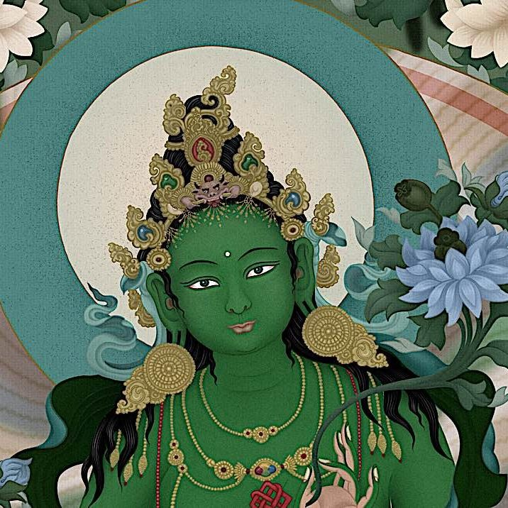 A cropped section of a stunning thangka of Chittimani Tara, the Highest Yoga Tantra aspect of Green Tara, by Jampay Dorje (Ben Christian). See this feature interview with this amazing artist in Buddha Weekly>>