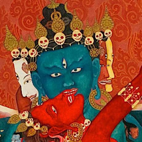 Heruka Chakrasamvara and Vajrayogini, the Highest Yoga Tantra meditational deities. Artwork by Laura Santi