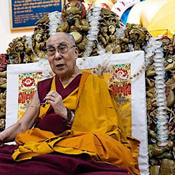 The Dalai Lama at a long life prayer puja in Dharmasala July 5, 2019. Photo from Dalailama.com by Tenzin Choejor.