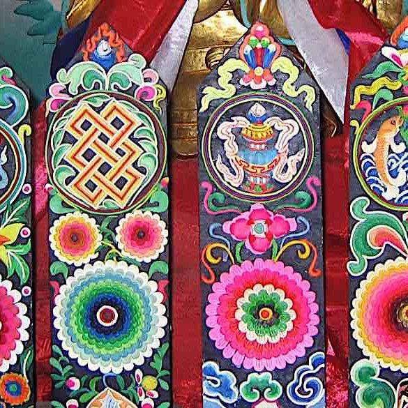 The Ashtamangala, Eight Auspicious Symbols of the Buddha.