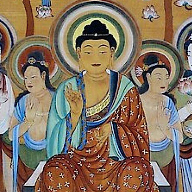 The Bodhisattvas surrounding the Buddha.