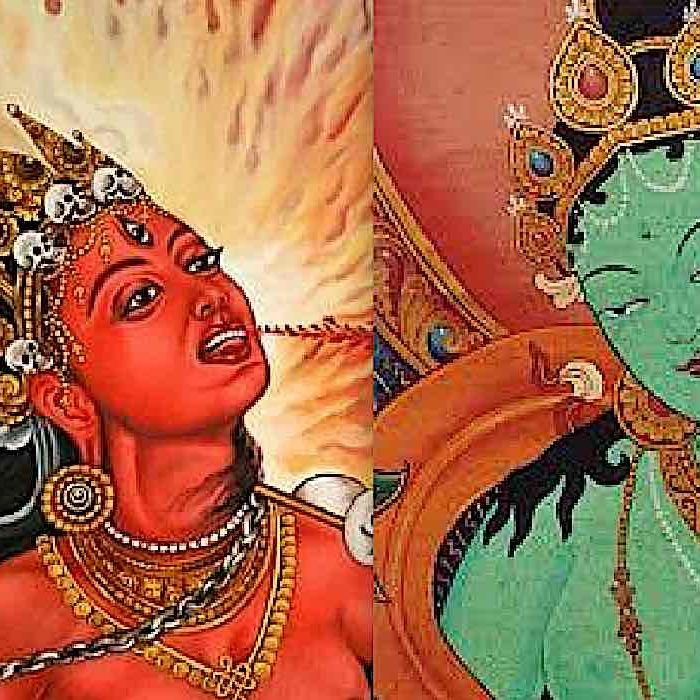 Vajrayogini and Green Tara can be thought of as two aspects of the Wisdom Female Buddha.