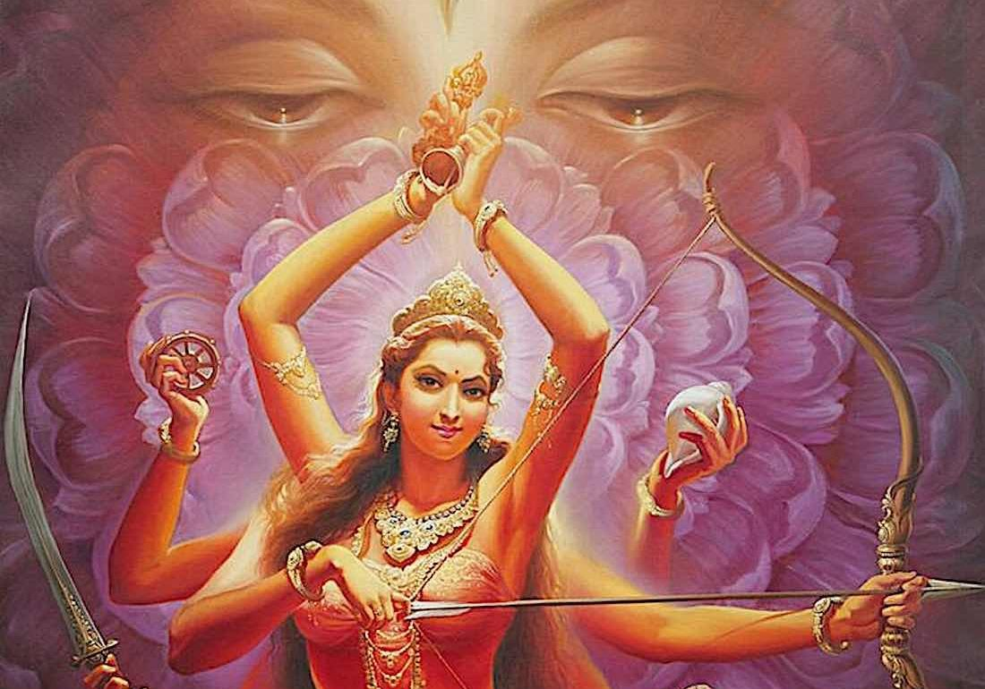 Detail of a painting of Tara 1, Heroic Red Tara, by V.V. Sapar of the first Tara in the Surya Gupta sytem. In the background is the Lotus Face of Avalokiteshvara. (Full image below in the feature.)