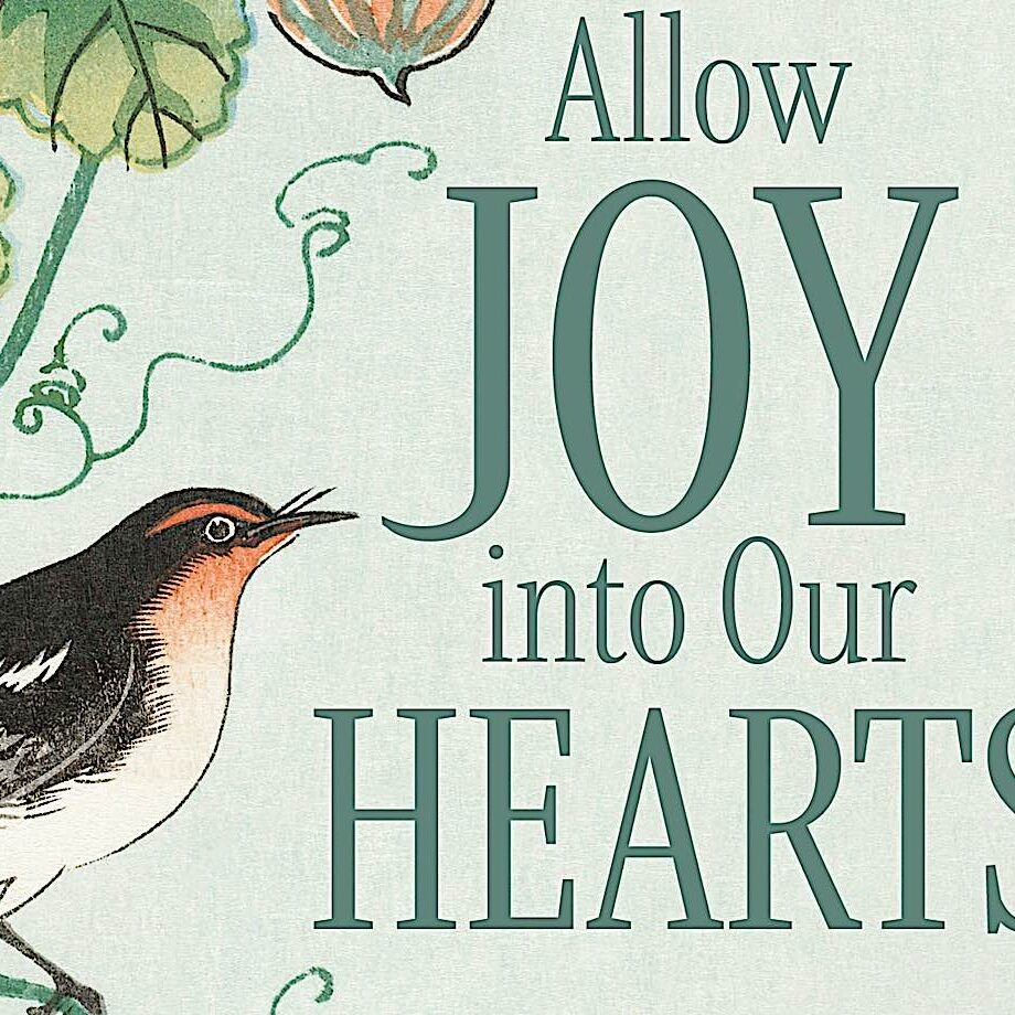 Close up detail of book cover for Allow Joy into Our Hearts by Rebecca Li.