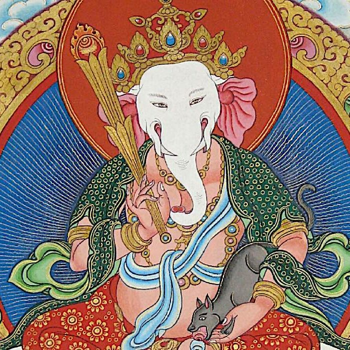 One of Ganesha's forms in Tibetan Buddhism as a wealth deity.