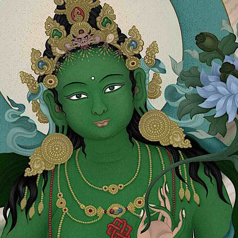 Loving face of the Mother of All Buddhas Green Tara. Detail from art by Ben Christian.