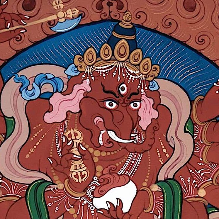 12-armed Red Ganapati is a treasured practice in Tibetan Buddhism, known for bringing auspiciousness and removing obstacles.