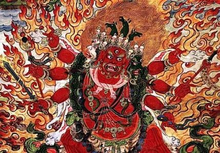 """The terrifyingly beautiful visualization of the most """"Powerful of Herukas"""" Hayagriva. This stunning image is from a Rubin Museum canvas dated between 1800 and 1899."""