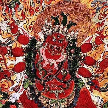 "The terrifyingly beautiful visualization of the most ""Powerful of Herukas"" Hayagriva. This stunning image is from a Rubin Museum canvas dated between 1800 and 1899."