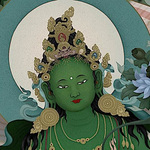 The face of the glorious Buddha Tara in her Green Chittamani form by Ben Christian (Jampay Dorje)