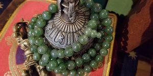 Buddha Weekly Jade Mala sacred to Green Tara Buddhism custom crop