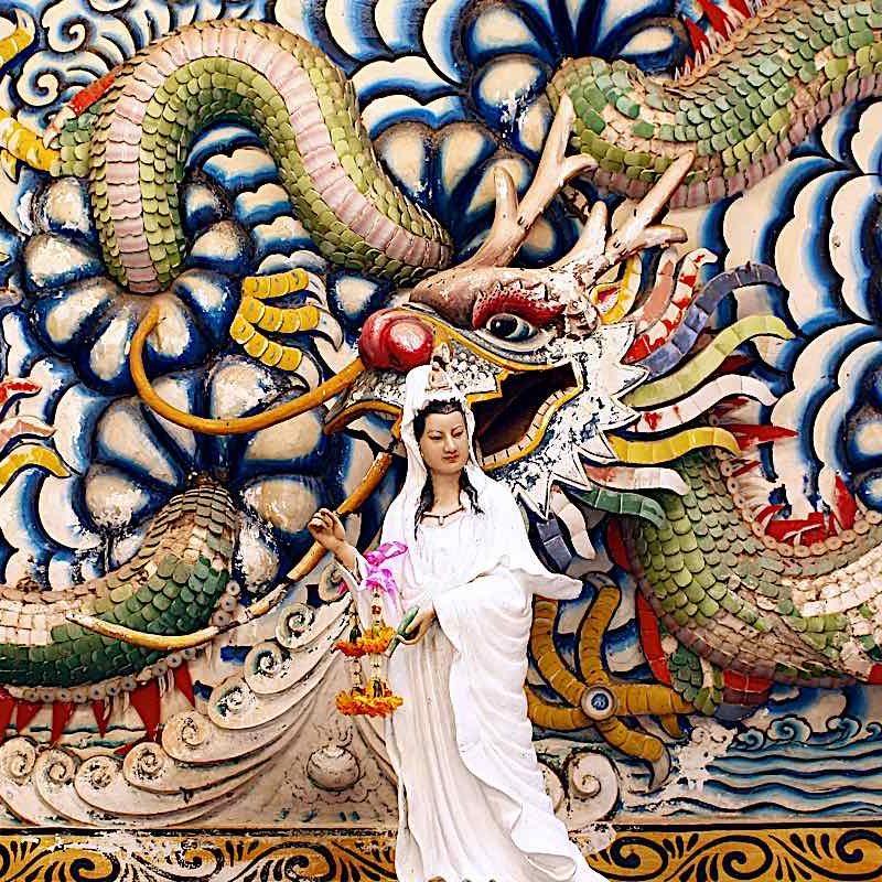 Kuan Yin (Guanyin) Avalokiteshvara with her Dragon.