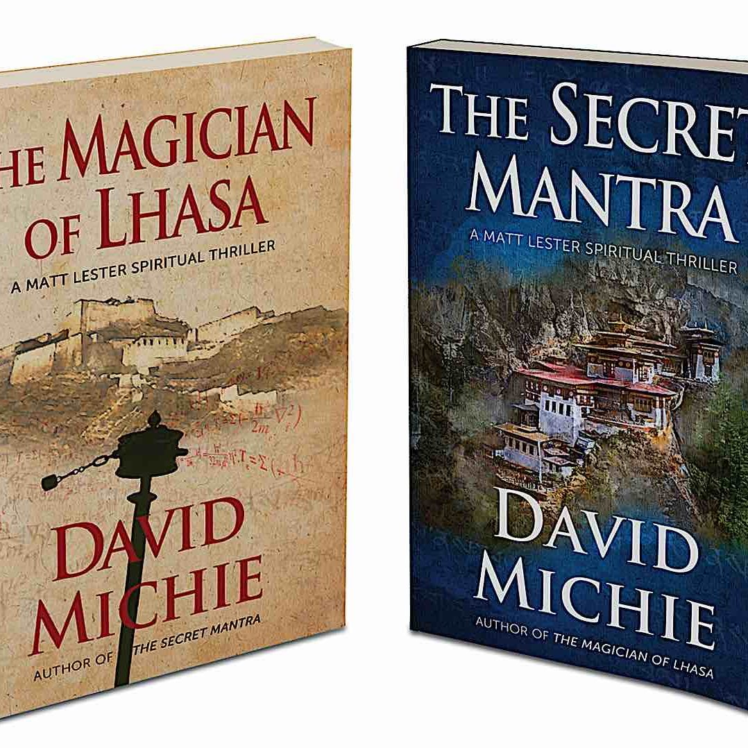 The covers of David Michie's Tibetan Buddhist Thrillers The Secret Mantra and The Magician of Lhasa.