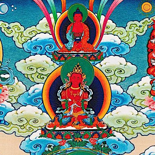 From a Wang Du Thangka the magnetizing deities (left to right) Chenrezig (Padmapani), Amitabha (top) Hayagriva (right) and Vajradharma (bottom.)