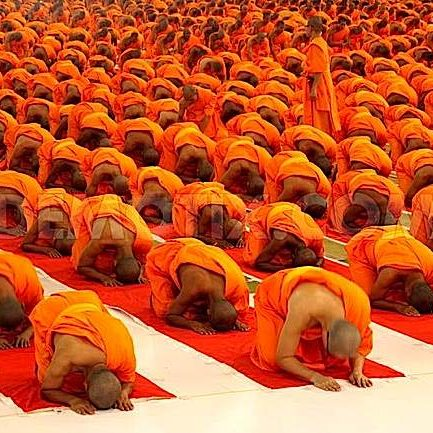 Monks prostrating.
