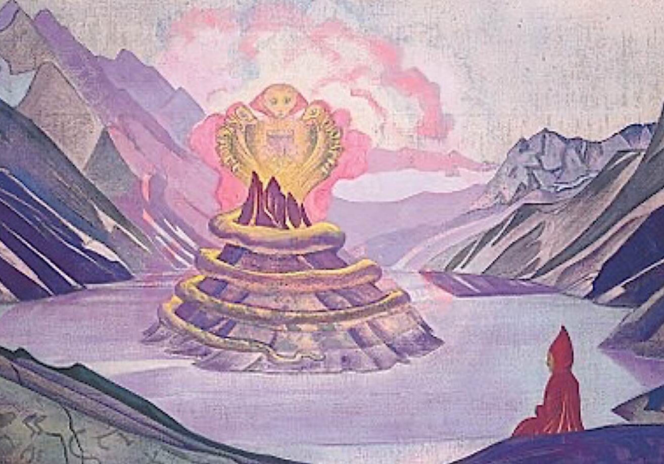 Nagas emerging from a sacred lake, painting by Russian artist Nicholas Roerich.