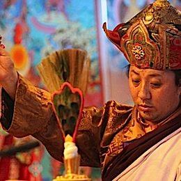 Namkha Rinpoche with a  Phurba. Namkha Rinpoche is Rigdzin Pema Tuthob's root guru.
