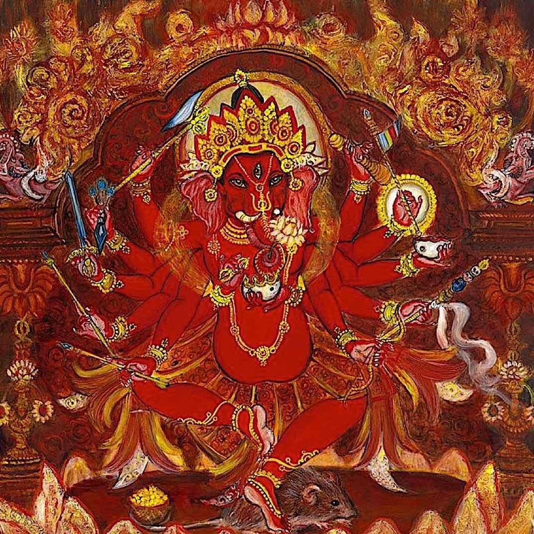 12-armed Ganesha or Ganapati, also known as Maha Rakta Ganapati, remover of obstacles.