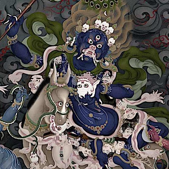 Stunning image of Palden Lhamo, the Queen of the End of War by Jampay Dorje (Ben Christian). She is flanked by blue Makaravaka on the left; and red Simhavakra on the right.