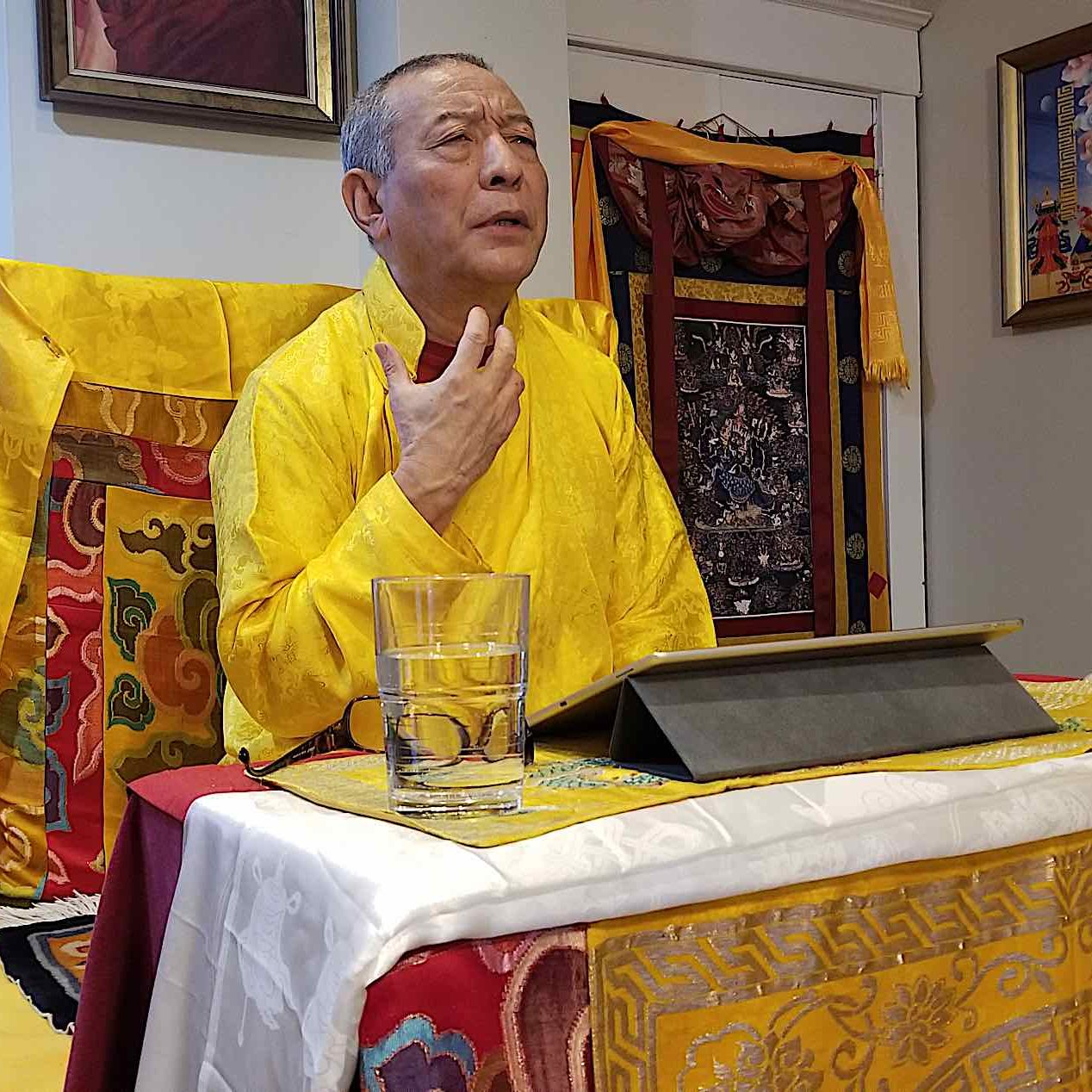 Today, many Sadhanas are available digitally. Here, H.E. Zasep Rinpoche teaches from a Tibetan script Sadhana on an Ipad. Today, with teacher's travelling around the world, digital versions are indespensible.