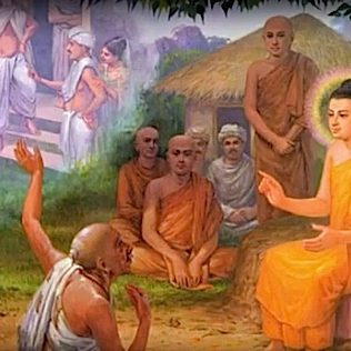 Shakyamuni Buddha teaches Singala the householder, instructing him in Buddhist responsibilities from a Lay person's point of view.