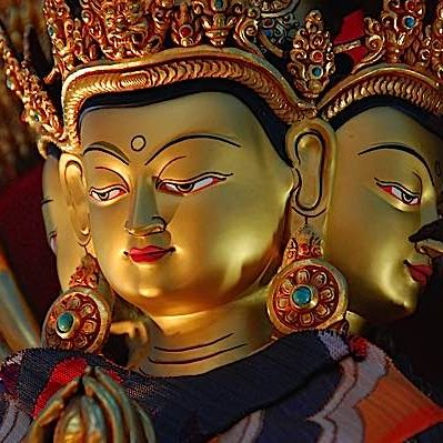 The faces of Chenrezig's compassion. Chenrezig is known as Avalokiteshvara in Sanskrit, Guanyin and Kanon in Chinese and Japanese.
