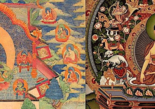 A comparison of two genuine thangkas in two traditions: Tibetan Thangka on the left (detail, not full) and Nepali Thangka on the right (detail.)