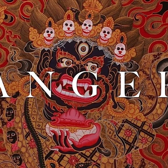 Anger is one of the five poisons. Each of the five Buddhas is focused on one of these poisons — in the case of anger, Akshobya. In Tibetan Buddhism, there are also higher tantric emanations of the Buddhas, wrathful deities who help us overcome anger and other poisons.