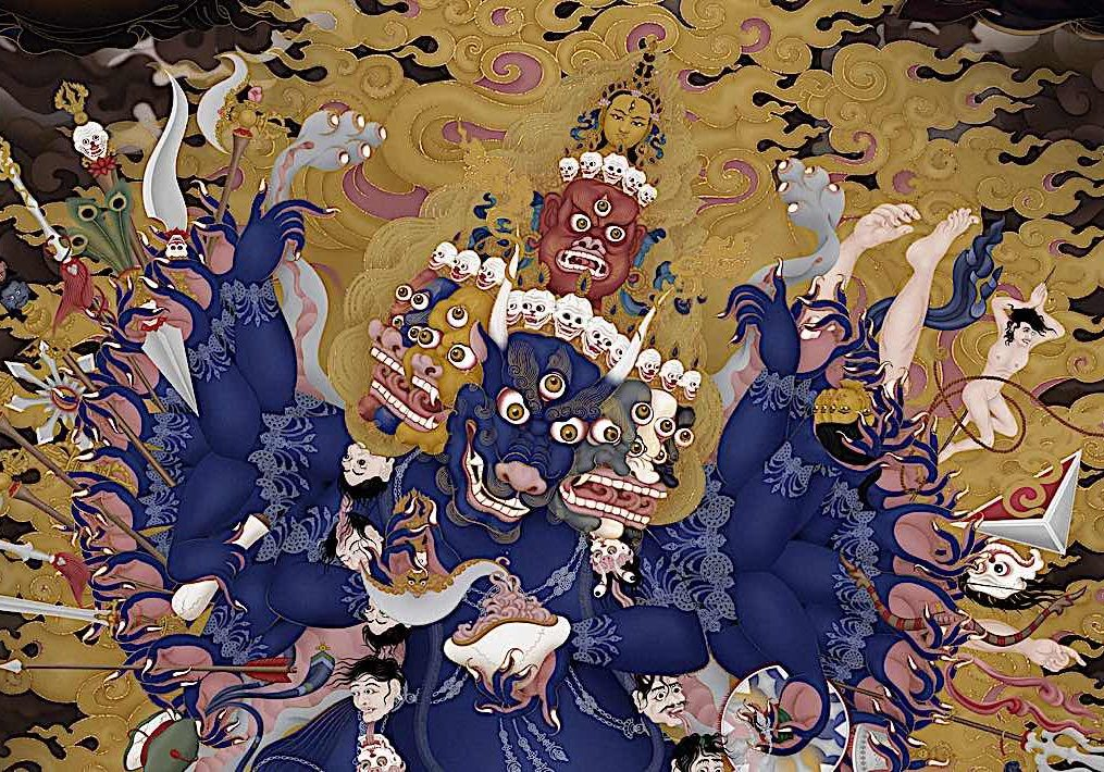 Arguably the most ferocious of wrathful yidams in Manjushri's form Solitary Hero Yamantaka with 9 faces, 34 arms, 16 legs treading on gods, men and beasts alike. Detail from a magnificent Tangkha by Ben Christian (Jampay Dorje).