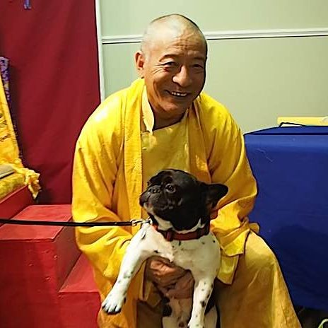 "Venerable Zasep Tulku Rinpoche blessed this dog at the end of a Medicine Buddha Retreat in Owen Sound in April 2016. After the event he played with the fifteen-month old pup. Zasep Rinpoche teaches,  ""We must not hurt other people and animals."""