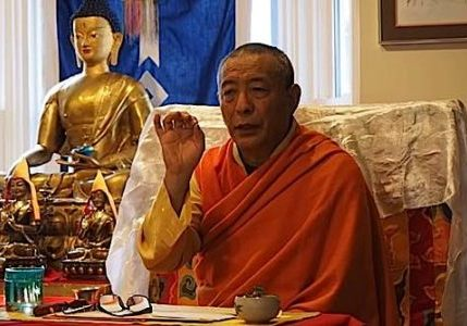 H E Zasep Rinpoche teaching in 2016 at Gaden Choling.