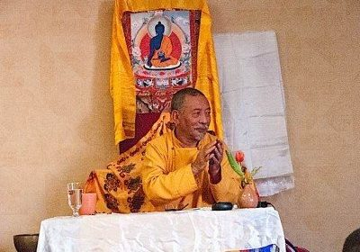 Zasep Tulku Rinpoche answering questions after  Mahamudra teachings  in Owen Sound.