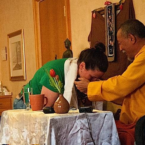 Zasep Tulku Rinpoche with a student at a Mahamudra event in Owen Sound, hosted by Mindfulness of Grey Bruce.