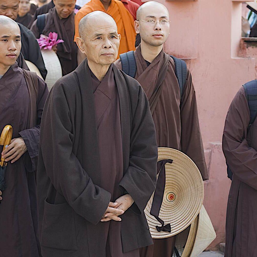 Zen Master Thich Nhat Hanh leads walking meditaiton at the Mahabodhi Temple in Bodhgaya India.