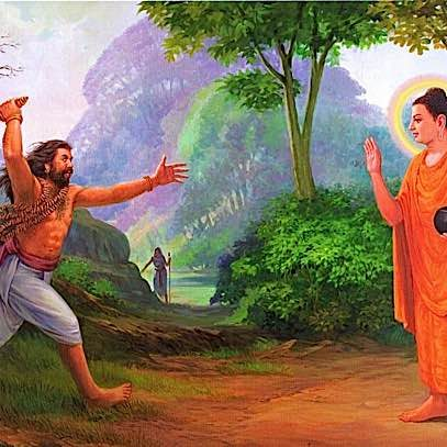 Shakyamuni saves Angulimala from himself. The mass murderer tries to take Buddha as his 1000th victim. When he fails, he falls to Buddha' feet and asks to be taken as a monk. Although Buddha agrees, Angulimala must endure endless beatings at the hands of his victim's families.