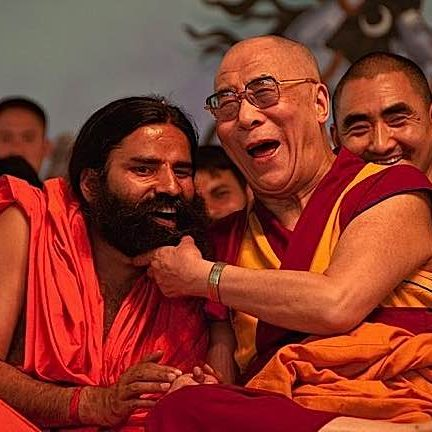 The Dalai Lama demonstrates happiness in his many public appearances. Photos of the Dalai Lama often feature him laughing.