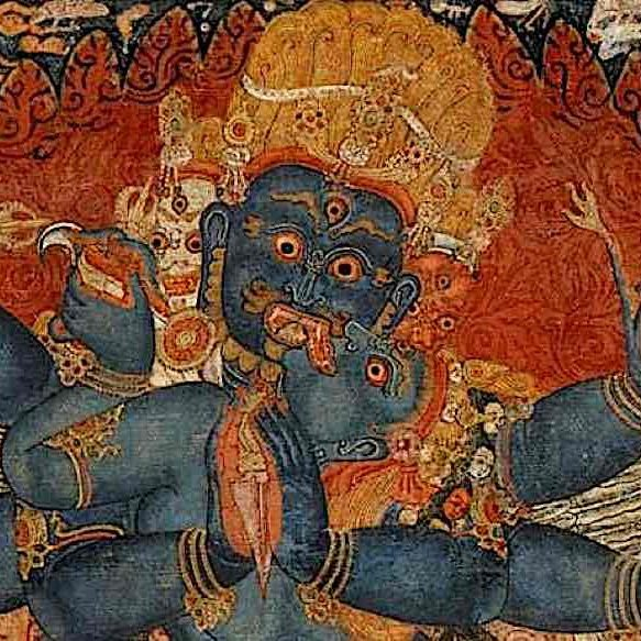 An image from the Rubin Museum of Art. This classical Tangkha visualizes Compassion and Wisdom in embrace or union, symbolized by the Male of aspect of Enlightenment as Compassion (Means) and the Female aspect of Enlightenment as Wisdom.