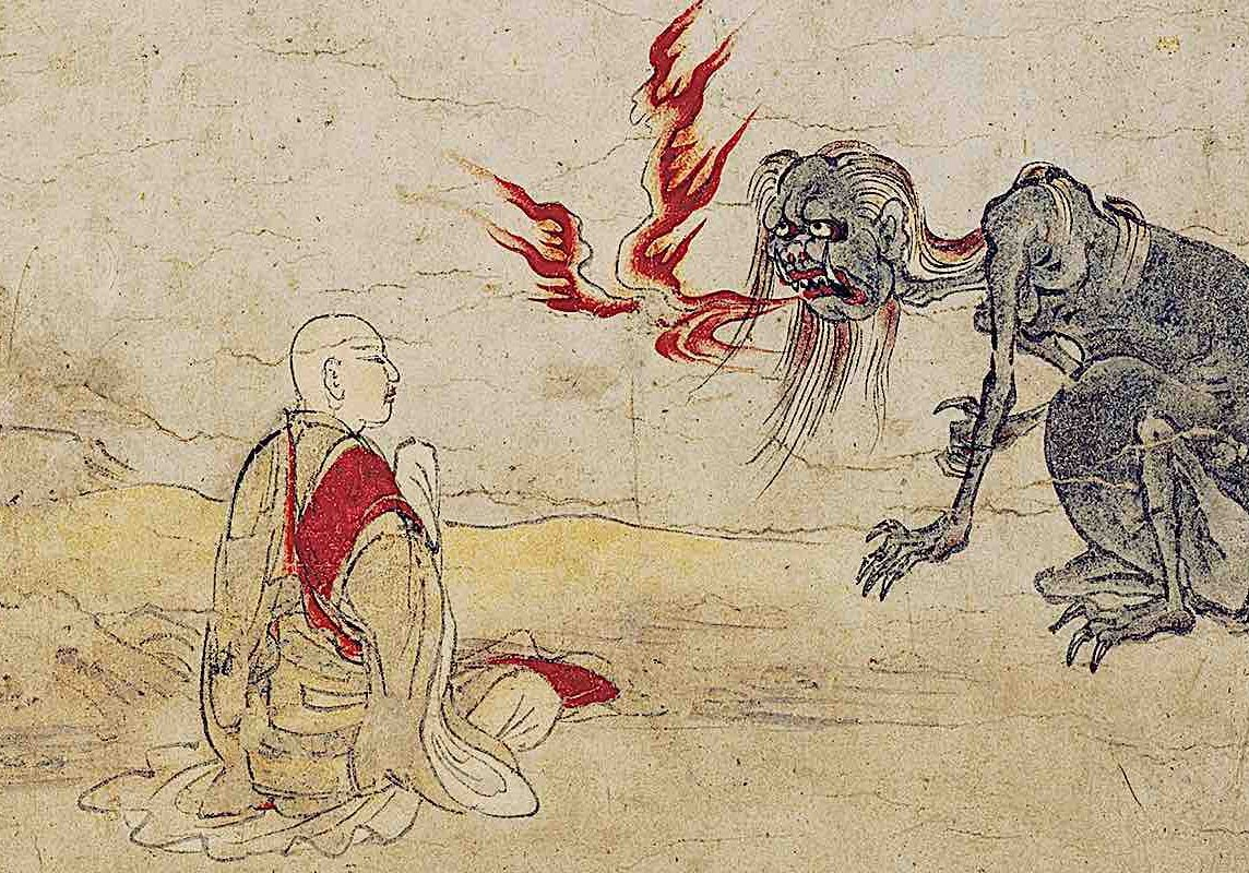 A monk prays for a hungry ghost. From the Kyoto National Museum.