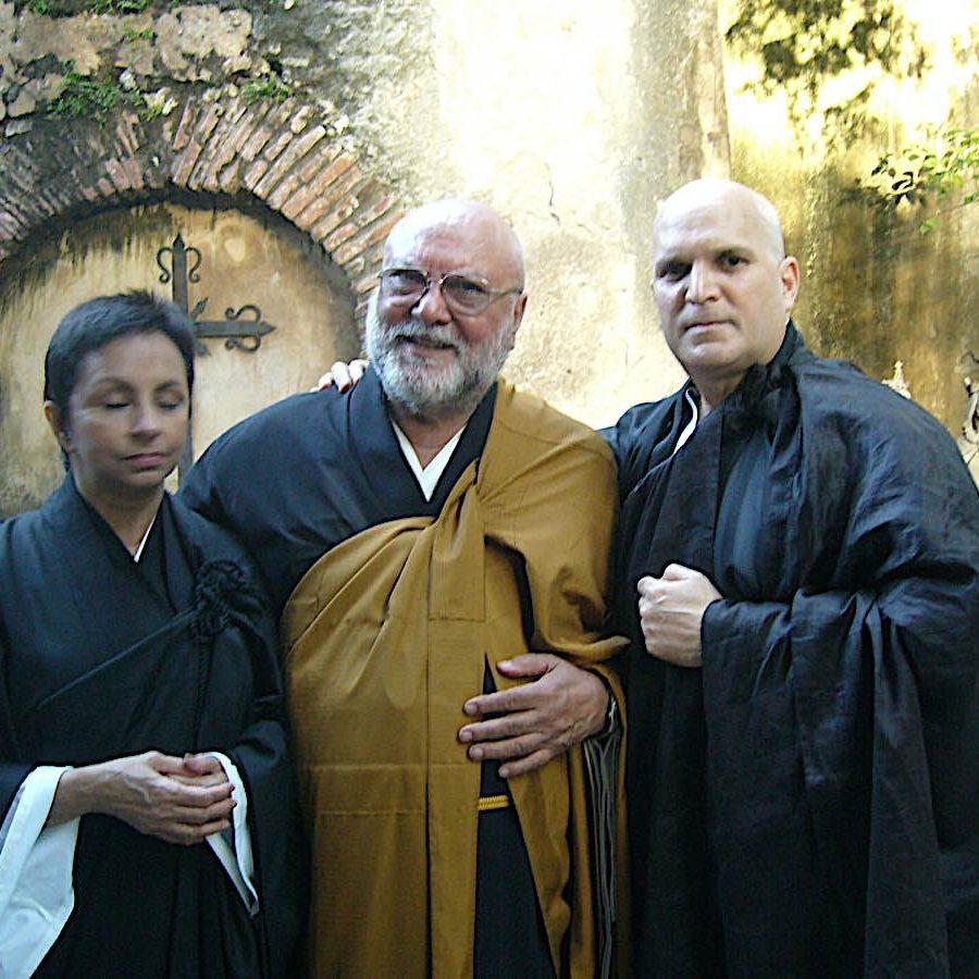 Soto Zen priest Ruyosho Joaquin Salazar centre.