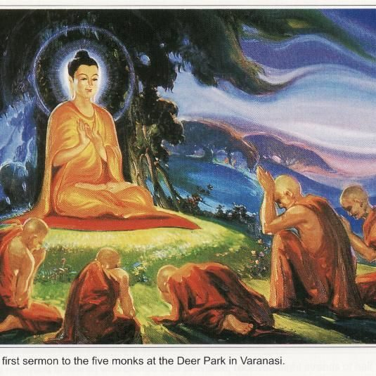 Shakyamuni Buddha teaching the Four Noble Truths.