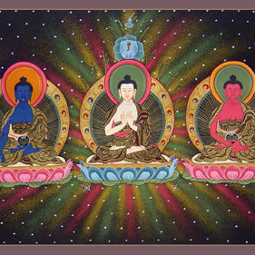 The Five Buddhas: from left to right Ratnasambhava (gold), Akshobya (blue), Vairochana (white), Amitabha (red), and Amoghisiddi (green).
