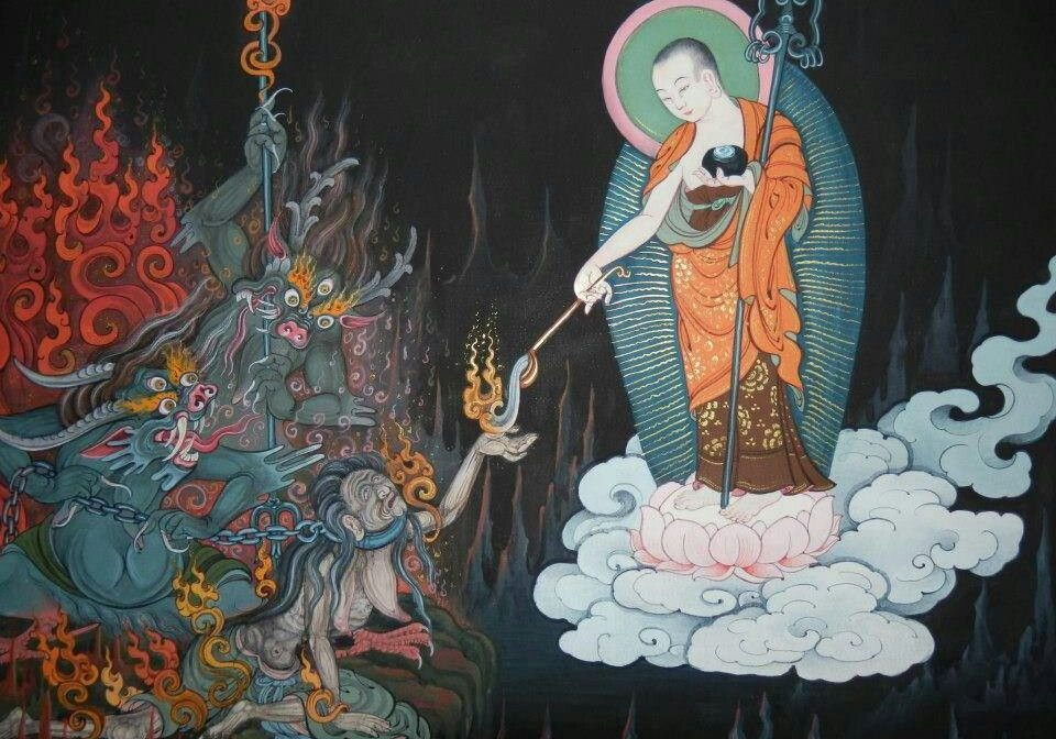 "Lord Gizo descends to hell on a lotus throne to help those suffering in hells. He is beloved all over Asia as the protector of children. He also taught ""demons"" in his compassion, transforming them with the Dharma."